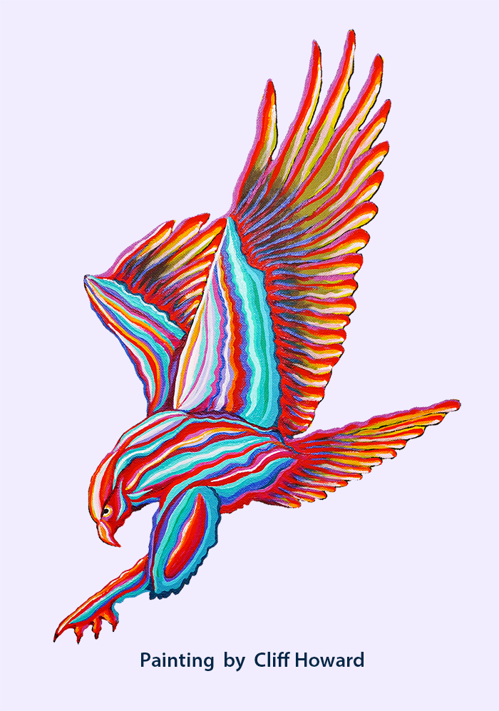 Painted image of a falcon
