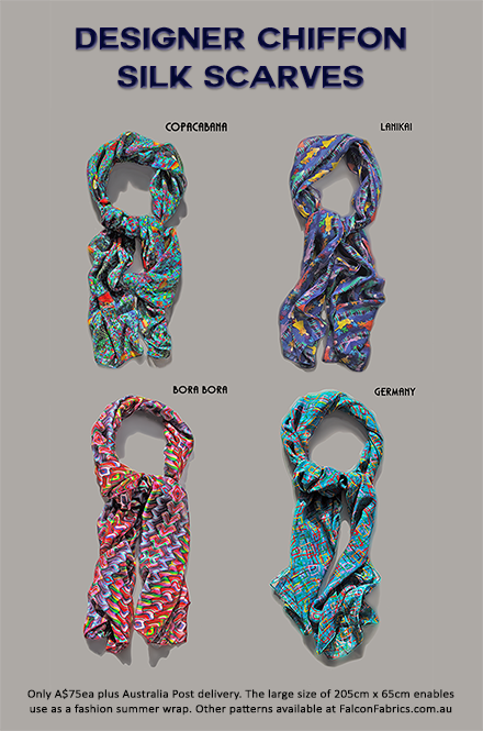 100% chiffon-silk scarves by Cliff Howard