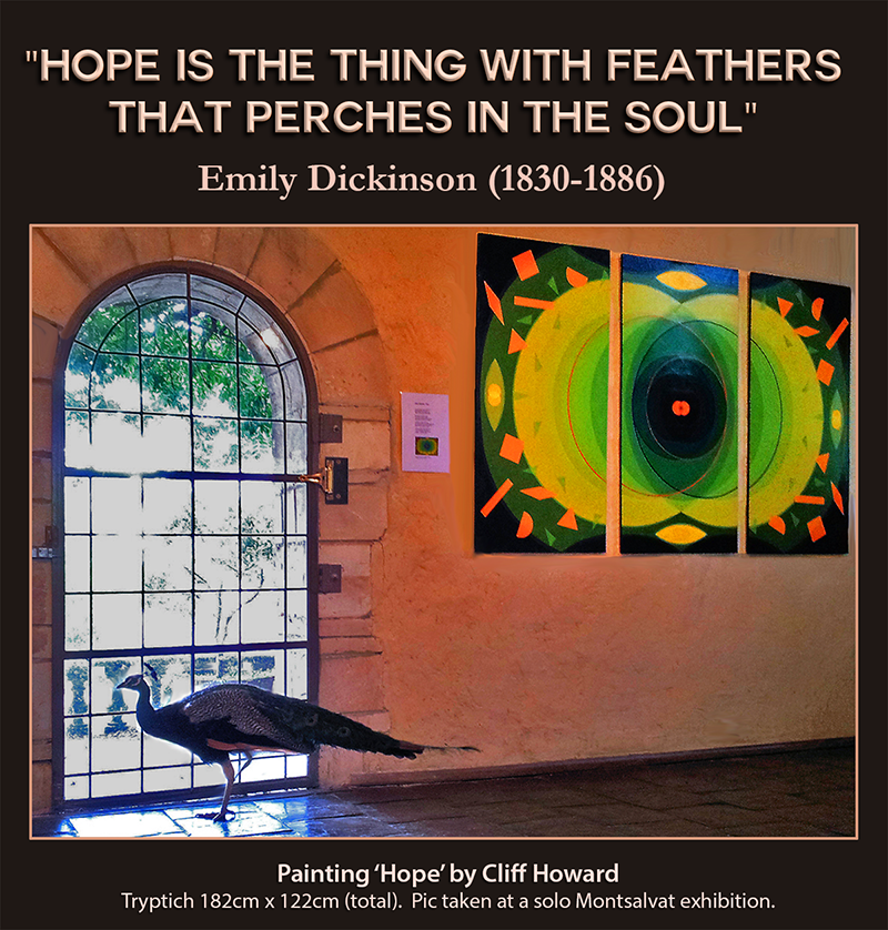 Tribute to life of poet Emily Dickinson, by Cliff Howard. Painting is for sale.
