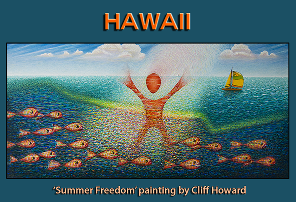 'Summer Freedom' painting of #Pipeline by Cliff Howard - 120cm x 60cm