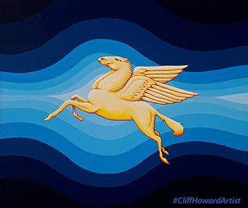 #CliffHowardArtist #pegasus #art paintings FalconWriting #logos #communications #flight