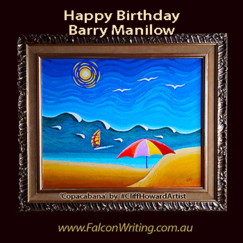 #CliffHowardArtist #art #paintings #FalconWriting #logos #communications #galleries #Copacabana #Rio #beaches #windsurfing